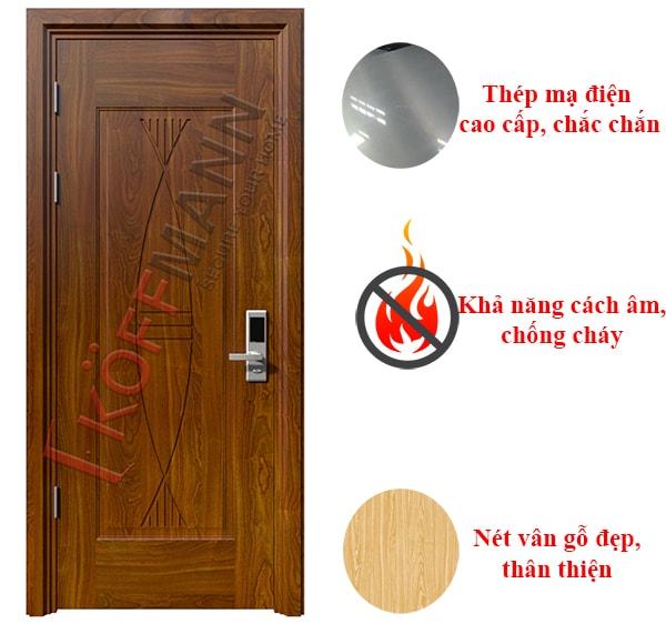 Ưu điểm của cửa thép vân gỗ