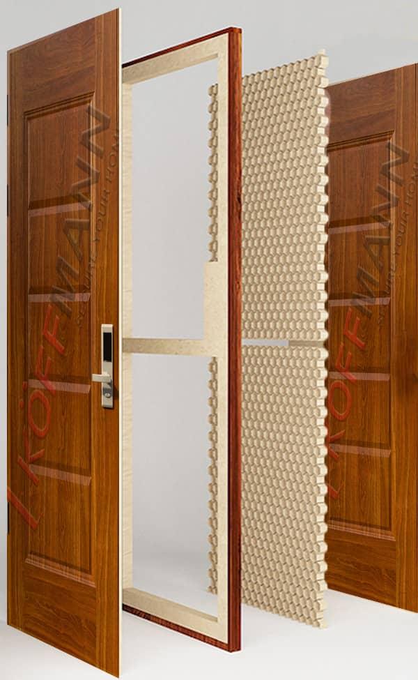 Giấy tổ ong Honeycomb paper trên cửa thép vân gỗ