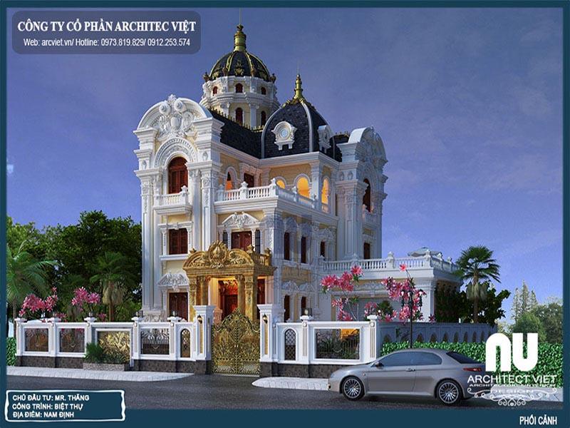 thiết kế biệt thự cổ điển 3 tầng 270m2