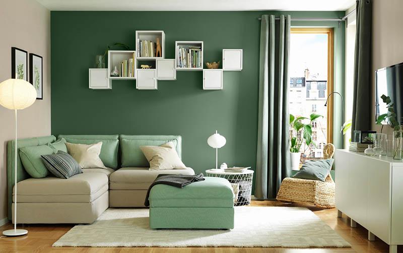 thiết kế phòng khách màu xanh lá cây đẹp