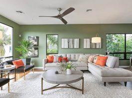 thiết kế phòng khách màu xanh lá cây