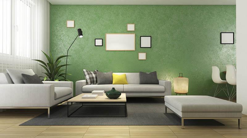 lựa chọn phòng khách màu xanh lá cây