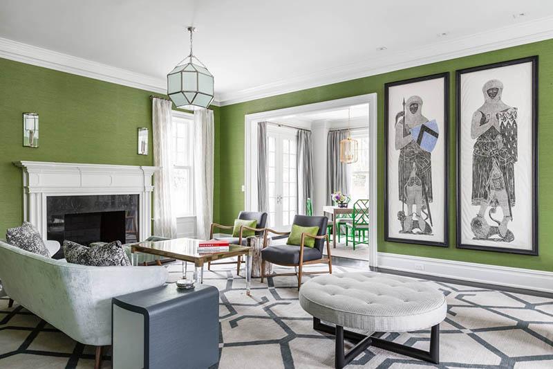 phòng khách màu xanh lá cây đẹp